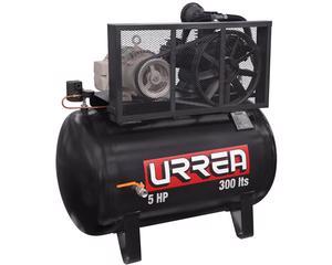 Urrea -  Cabeza de compresor lubricado/Capacidad 300l/Caudal a 150 psi 18cfm/Caudal a 90psi 22 cfm/Cuenta con tres pistones que permiten llenar el tanque mucho más rápido/Frecuencia 60hz/Numero de etapas 1 fases 3/Para el buen uso del compresor es necesario instalar un arrancador Motor y cabezal de hierro fundido/Peso 190kg (4188lb)/Potencia 5hp/Presión máxima 12 bar (175psi)/Voltaje 220/440V