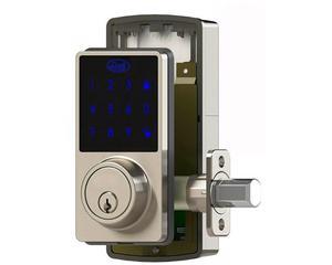 Lock -  Construido con materiales de alta calidad, este cerrojo digital le brinda el más alto nivel de seguridad en el punto de entrada principal/Modo de bajo consumo y alarma de baja batería/Pantalla touchscreen con alertas con luz y sonido/Para uso de entrada principal, configurable, código de seguridad de 8 dígitos, una solución eficaz y estética para la seguridad del hogar/Tiene integrada tecnología de desbloqueo por pin o por llave
