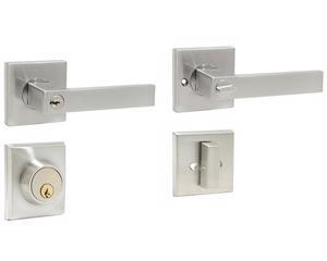 Lock -  Cabeza picaporte de zinc cromado con alma de acero templado/Función doble/Llave estándar/Misma combinación de llave/Para puertas abatibles de metal o madera con espesores de 35mm a 45mm