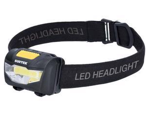 135906 Linterna para cabeza a baterías 120 lm Surtek. -120lm, 3W, pantalla de PS, Cuerpo de ABS, 1 LED COB.-3 baterías AAA incluidas, 3 modos de luz, distancia de luz 60 m.-Color temperatura 6500K, resistencia a caídas 1m, 10,000 horas de vida. -Linterna para cabeza a baterías (3 AAA) 120lm.