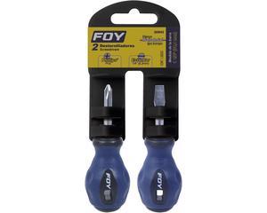 """Foy -  1/2"""" Foy/Barra cromada fabricada en acero SAE 1045/Juego con 2 piezas/Juego de 2 destornillador bimaterial 1/4"""" x 1/Su estructura Bimaterial los hace más resistentes a impactos y más cómodos al utilizarlos/Tipo trompo"""
