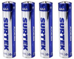 Surtek -  1,5 V/130 minutos de uso continuo (depende del tipo de uso), cubierta de aluminio/4 pilas, 650 mAh/Pilas alcalinas de uso general