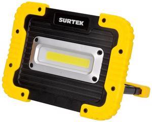 Surtek -  1200lm/Amplia área de iluminación, grado de protección contra lluvia ligera/Cable USB e indicador de carga/Distancia de iluminación 40m, resistencia a caídas de 1m, puerto micro USB para carga, powerbank,  4 tipos de luz, temperatura de color 6500 K(Luz de día), tiempo de iluminación 2 1/2 hrs/Ideal para áreas de trabajo, auxilio vial, talleres/Pantalla de PS, cuerpo de ABS, 1 LED tipo COB, 10000 hrs de vida, 5W, grado IP44, batería Li-ion/Puerto micro USB de carga, LED de última generación
