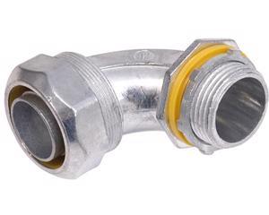 136839 Conector curvo para tubo liquid tight 1in Surtek. -Fabricados en zamak con terminado cromo satinado-Con sello de hule