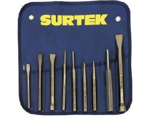 Surtek -  Acero alta resistencia con doble tratamiento térmico/Baño especial de anticorrosivo para protección/Cinceles con zona de golpe cabeceada para mayor confianza al golpear/Práctico estuche de vinil