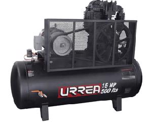 Urrea -  40CFM/56CFM@ 150PSI/Capacidad 500l/Caudal a 150 psi 40cfm/Caudal a 90psi 56 cfm/Compresor lubricado/Frecuencia 60hz/Numero de etapas 2 fases 3/Número de etapas 2, número de cilindros 2/pistones 2/Peso 350kg (7716lb)/Potencia 15hp/Presión máxima 12 bar (175psi)/Presión máxima 175psi CFM@ 90PSI/Tanque horizontal de 500 litros, tanque con certificado de prueba hidrostática, manguera de descarga de acero inoxidable 1 filtro, 2 válvulas de esfera/Velocidad de la cabeza 800 r/min/Voltaje 220/440V