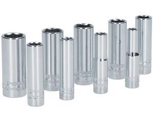 """Surtek -  1 dado 1/4"""" largo 6 puntas 10mm/1 dado 1/4"""" largo 6 puntas 11mm/1 dado 1/4"""" largo 6 puntas 12mm/1 dado 1/4"""" largo 6 puntas 13mm/1 dado 1/4"""" largo 6 puntas 14mm/1 dado 1/4"""" largo 6 puntas 6mm/1 dado 1/4"""" largo 6 puntas 7mm/1 dado 1/4"""" largo 6 puntas 8mm/Ideal para apretar y aflojar tornillos boca 1/2"""", Contenido 1 dado 1/4"""" largo 6 puntas 9mm, SAE o Métrico Métrico, Terminado Cromado"""