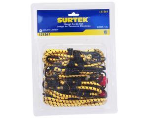 151261 Juego de 24 tensores elásticos Surtek. -Juego de 24 tensores elásticos Surtek-Con ganchos de acero-Fabricados en goma con recubrimiento de nylon-Marca Surtek