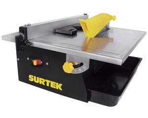 Surtek -  Contenedor de agua para enfriar el corte/Corte a 45°/Eficiente motor de inducción/Guías para cortes angulares y rectos/Para cortar azulejo, loseta, mosaico, etc (utilizando el disco adecuado)