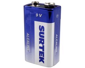 Surtek -  480 mAh/9V/Hasta 1260 minutos de uso continuo, cubierta de aluminio/Pilas alcalinas de uso general