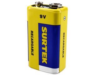 Surtek -  250 mAh/500 ciclos de carga/9 V/Pila Ni-mh, 480 minutos de uso continuo (depende uso), cubierta de aluminio/Pilas recargables de uso general/Tiempo de carga 180 minutos (con cargador surtek)