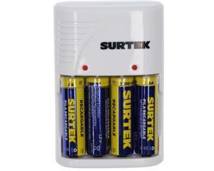 Surtek -  240 V~ y clavija polarizada/4 módulos de carga, 4 baterías AA incluidas 1300 mAh, cuerpo ABS/Cargador de pilas 4 módulos para pilas AA, AAA y 9V/Indicador de carga/Voltaje de entrada 100