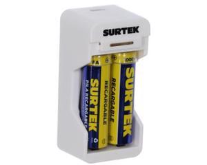Surtek -  2 módulos de carga, 2 baterías AA incluidas 1300 mAh, cuerpo ABS/4,3 V (CD), puerto Micro USB y cable USB incluido/Cargador portátil para pilas con entrada micro USB/Portátil, indicador de carga/Voltaje de entrada 5V (CD), Voltaje de salida 3