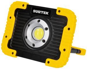 Surtek -  900lm/Amplia área de iluminación, grado de protección contra lluvia ligera/Cable USB e indicador de carga/Distancia de iluminación 40m, resistencia a caídas de 1m, puerto micro USB para carga, powerbank,  4 tipos de luz, temperatura de color 5900 K(Luz de día), tiempo de iluminación 2 1/2 hrs/Ideal para áreas de trabajo, auxilio vial, talleres/Pantalla de PS, cuerpo de ABS, 1 LED tipo COB, 10000 hrs de vida, 5W, grado IP44, batería Li-ion/Puerto micro USB de carga, LED de última generación