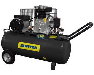 Surtek -  Cabeza de  motor lubricado con dos pistones, permite llenar el tanque mas rápido y hace mas eficiente su uso/Cuenta con ruedas que permite transportar el compresor mas fácilmente