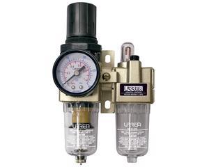 """Urrea -  5/5kg/cm2/8/Filtro lubricador de aire 3/8"""" flujo 1 700l/min con regulador y manómetro, rango de presión 0/Filtro regulador y lubricador de aire 3/8"""" NPT Urrea/Válvula de purga automática, capacidad de lubricación 30 cc, rocío 50 ml/min"""