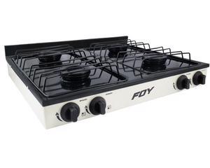 Foy -  4 quemadores/Color blanco/Control de temperatura ajustable/Cubierta superior y parrilla desmontable/De sobreponer para gas lp/Fabricada en lámina de acero