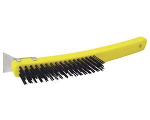 123259 Cepillo alambre 3in x 17in con rasqueta Surtek. -Con rasqueta adherida al tope de mango, útil para eliminar excesos de pintura sin afectar el resto de superficie