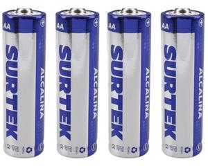 Surtek -  1,5 V/330 minutos de uso continuo (depende tipo de uso) , cubierta de aluminio/4 pilas, 1600 mAh/Pilas alcalinas de uso general