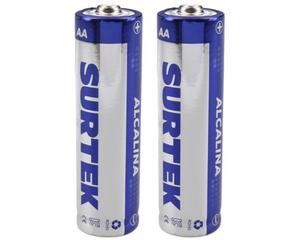 Surtek -  1,5 V/2 pilas, 1600 mAh/330 minutos de uso continuo (depende tipo de uso) , cubierta de aluminio/Pilas alcalinas de uso general