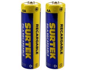 Surtek -  1,2 V, 2500 mAh/500 ciclos de carga/Pila Ni-mh, 290 minutos de uso continuo (depende uso), cubierta de aluminio/Pilas recargables de uso general/Tiempo de carga 180 minutos (con cargador surtek)