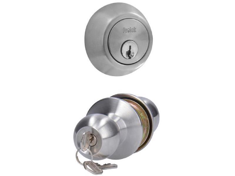 Prolok -  5 pernos/70 mm/Acabado satinado/botón)/Cerrojo anti-segueta/Cerrojo de cilindro sencillo/Combo pomo bola de función recámara para uso residencial/Combo pomo bola fabricados en su mayoría de acero inoxidable/Escudo de acero inoxidable/Instalación sencilla/Llave estándar/Para puertas de espesor de 60/Pomo de mecanismo cilíndrico/Pomo función recámara (llave
