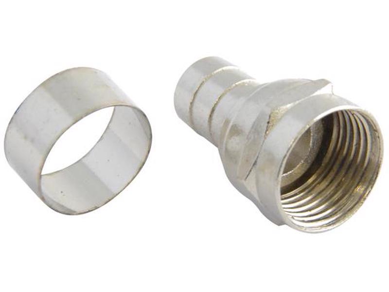 153201 Conector tipo campana para cable coaxial RG6 Surtek. -Bolsa con 4 piezas-Para cable coaxial-Anillo suelto-Tipo f-Para instalaciones de antena, televisión satelital o cable